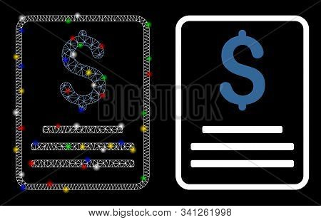 Flare Mesh Invoice Budget Icon With Sparkle Effect. Abstract Illuminated Model Of Invoice Budget. Sh