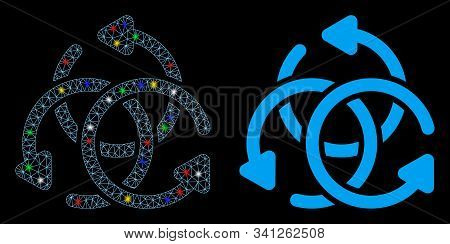 Glossy Mesh Knot Rotation Icon With Lightspot Effect. Abstract Illuminated Model Of Knot Rotation. S