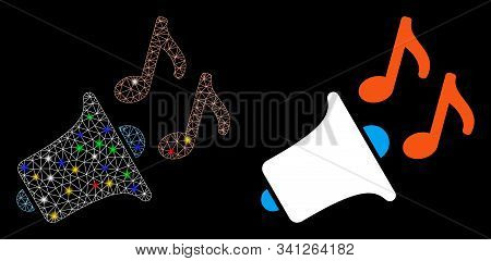 Bright Mesh Music Horn Icon With Sparkle Effect. Abstract Illuminated Model Of Music Horn. Shiny Wir