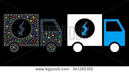 Glossy Mesh Power Supply Van Icon With Glow Effect. Abstract Illuminated Model Of Power Supply Van.