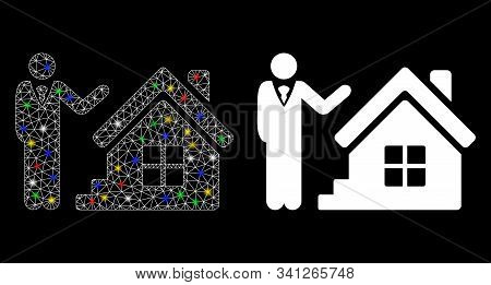 Glowing Mesh Realty Agent Icon With Glare Effect. Abstract Illuminated Model Of Realty Agent. Shiny
