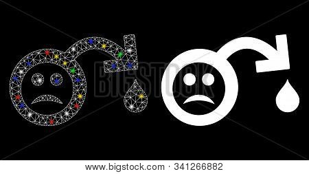 Glowing Mesh Sad Impotence Icon With Glitter Effect. Abstract Illuminated Model Of Sad Impotence. Sh