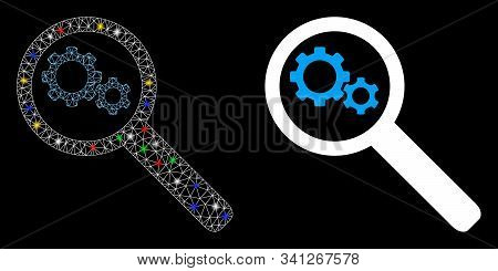 Glowing Mesh Search Gears Tool Icon With Glare Effect. Abstract Illuminated Model Of Search Gears To