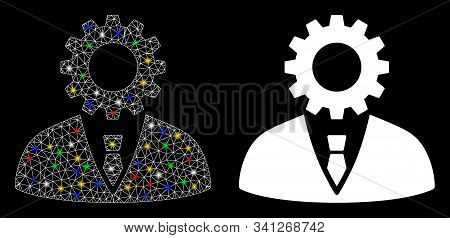 Bright Mesh Soulless Official Bureaucrat Icon With Glow Effect. Abstract Illuminated Model Of Soulle
