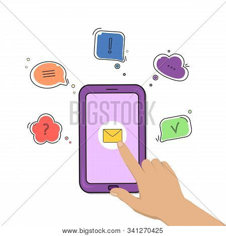 Chat Comment. Smartphone With Hand Mail Icon And Speech Bubbles With Different Symbols. Vector Illus