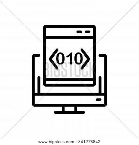 Black Line Icon For Custom-coding Custom Coding Software Programming App Technology