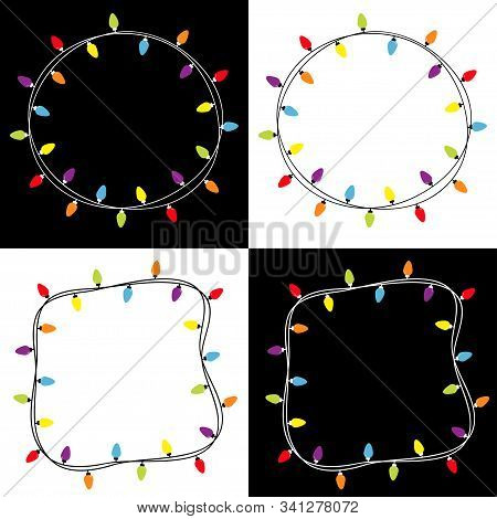 Christmas Lights Square And Round Frame Set. Colorful String Fairy Light Set. Holiday Festive Xmas D