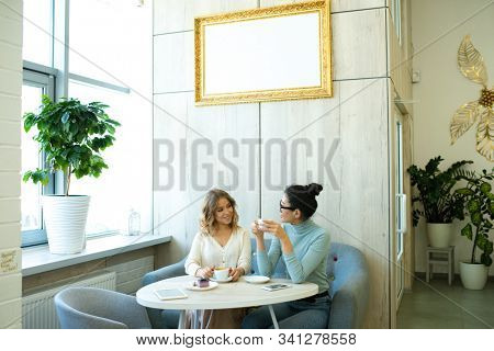 Two friendly young women in casualwear sitting on soft comfortable sofa by table in cafe, having coffee and interacting