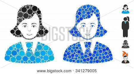 Clerk Lady Mosaic Of Round Dots In Variable Sizes And Color Tints, Based On Clerk Lady Icon. Vector