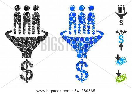 Sales Funnel Mosaic Of Round Dots In Different Sizes And Shades, Based On Sales Funnel Icon. Vector