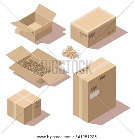Isometric Brown Cardboard Delivery Package Boxes Open And Closed. Vector Set Of Storage Boxes Empty