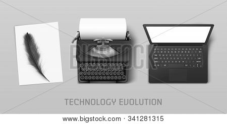 Technology Evolution From Ancient Feather To Vintage Typewriter And Modern Laptop. Vector Concept Il