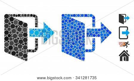Exit Door Mosaic Of Round Dots In Various Sizes And Color Hues, Based On Exit Door Icon. Vector Roun