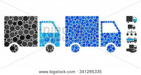 Shipment Van Composition Of Circle Elements In Variable Sizes And Color Hues, Based On Shipment Van