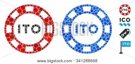 Ito Token Mosaic Of Small Circles In Various Sizes And Color Tones, Based On Ito Token Icon. Vector