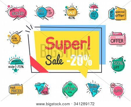 Collection Of Promotional Banners, Super Sale 20 Percent Off. Proposition At Store Or Market. Exclus