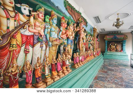 Kuala Lumpur, Malaysia - November 7, 2019: Beautiful Hindu Temple Named Sri Maha Mariamman In Kuala
