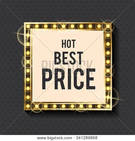 Gold Frame And Discount Sign, Best Price Banner Vector. Price Reduction And Off, Framework And Lette
