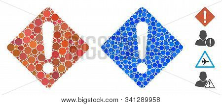 Exclamation Mosaic Of Filled Circles In Various Sizes And Shades, Based On Exclamation Icon. Vector