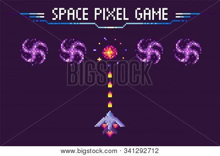 Spaceship Shooting To Cosmic Sign, Space Pixel Game, Invader Ship With Laser On Purple, Screen Of Vi