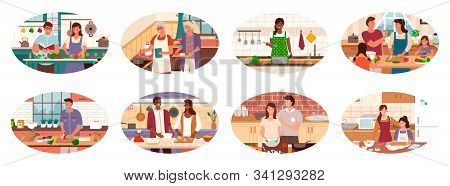 Collection Of People Cooking In Kitchen Of Homes. Couples And Family, Granny And Granddaughter Makin