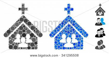 Church People Composition Of Small Circles In Different Sizes And Color Tones, Based On Church Peopl