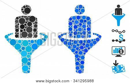 Sales Funnel Mosaic Of Round Dots In Variable Sizes And Color Tones, Based On Sales Funnel Icon. Vec