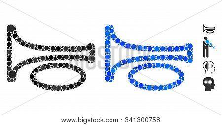 Trombone Mosaic Of Round Dots In Various Sizes And Color Tints, Based On Trombone Icon. Vector Round