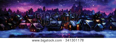Illustration A Fantasy Town Nightscape With Lights, Snow And Ice. Digital Painting