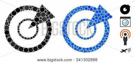 Radar Mosaic Of Round Dots In Various Sizes And Color Tinges, Based On Radar Icon. Vector Round Dots