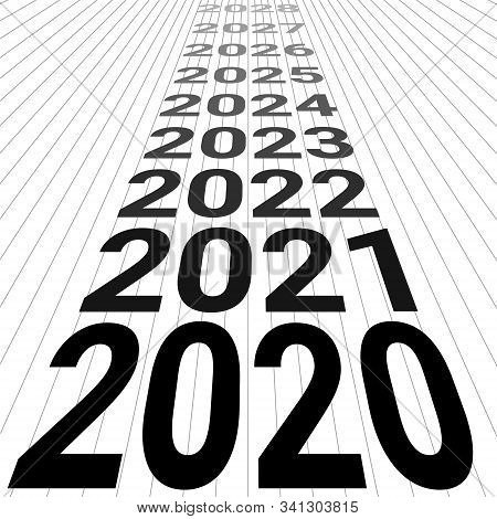 2020 New Year Banner Background 3d Perspective Vector Look To The Future 2020 Happy New Year Perspec