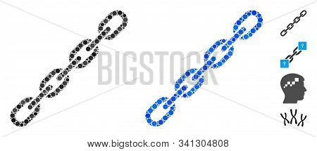 Chain Mosaic Of Round Dots In Various Sizes And Color Hues, Based On Chain Icon. Vector Round Dots A
