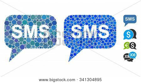 Sms Composition Of Round Dots In Variable Sizes And Color Tones, Based On Sms Icon. Vector Round Ele