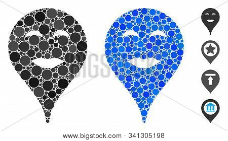 Lady Pleasure Smiley Map Marker Composition Of Small Circles In Various Sizes And Color Tones, Based