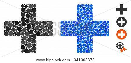 Plus Composition Of Round Dots In Different Sizes And Shades, Based On Plus Icon. Vector Dots Are Co