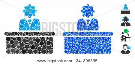 Bureaucrat Mosaic Of Small Circles In Various Sizes And Color Hues, Based On Bureaucrat Icon. Vector