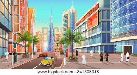 Street In Dubai, Cityscape Of City In Uae. United Arab Emirates Skyline With Skyscrapers And Modern