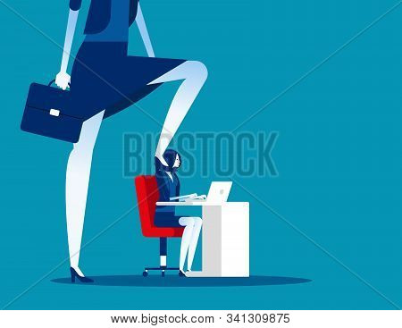 Boss Pressure At Office Work. Concept Business Vector Illustration,  Stressed Out, Oppressive, Insul