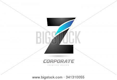 Blue Black Alphabet Letter Z Logo Icon Design For Business. Suitable For A Company