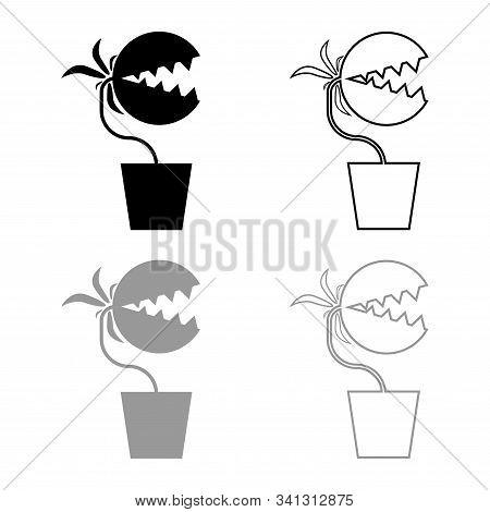 Carnivorous Plant Flytrap Monster With Teeths In Pot Icon Outline Set Black Grey Color Vector Illust