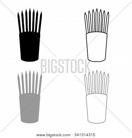 Pencils In Glass Stands Upright Office Supplier Concept Work Place Icon Outline Set Black Grey Color