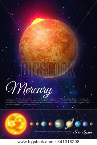 Mercury Planet Colorful Poster With Solar System. Galaxy Discovery And Exploration. Realistic Planet