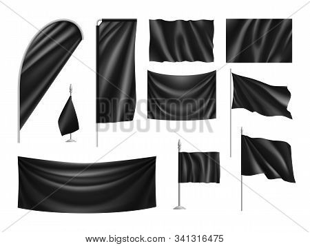 Black Vertical And Horizontal Flags Isolated On White Background. Realistic Wavy Flag On Pole, Fabri