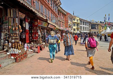 Kathmandu, Nepal - March 14, 2018: Illustrative Editorial Showing Three Women In Beautiful Bright Co