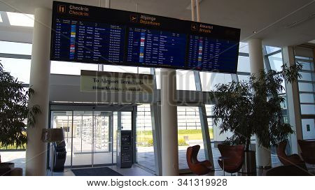 Copenhagen, Denmark - Jul 04th, 2015: Flights Information Board At An Airport Hotel Near The Termina