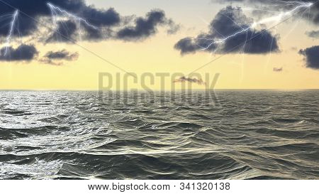 Lightning Strikes On The Sea Surface In Stormy Sea In The Atlantic Ocean