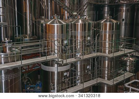 Bento Goncalves, Brazil - July 10, 2019. Steel Storage Tanks And Equipment For Wine Production At Sa