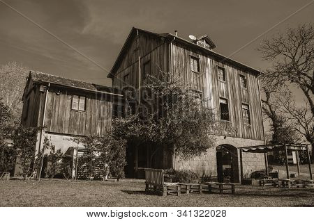 Bento Goncalves, Brazil - July 11, 2019. Charming Wooden Old House At The Restaurant Casa Vanni Near