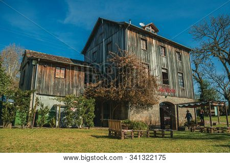Bento Goncalves, Brazil - July 11, 2019. Charming Old Rural House From The Restaurant Casa Vanni Wit
