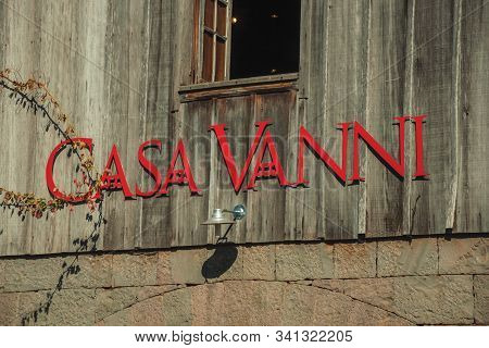 Bento Goncalves, Brazil - July 11, 2019. Company Sign On A Wood Wall With The Casa Vanni Name, A Cou